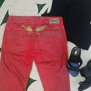 Robin's Jeans Red Faux Leather Snake Marilyn